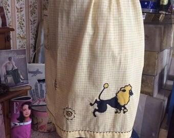 Vintage 1950s 1960s Apron Poodle Theme Yellow White Gingham 1/2 Apron Poodle Collectible