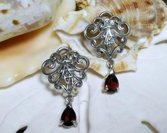 Sterling Silver Garnet Dangle Fleur De Lis Earrings Omega Backs 6.09g
