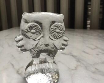 Kosta Boda Art Glass Owl Paperweight Figurine