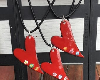 Large Red Enamel Heart Necklace, Torch Fired Enamel Heart Necklace