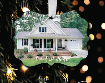 Our First Home Photo Ornament - Personalized Photo Ornament - Monogrammed Ornament - Christmas Ornament - Our First House - Gift