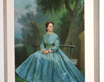 Antique VICTORIAN Painted Photo Oil Painting WOMAN in True BLUE Dress Hoop skirt in Landscape c1860s Gorgeous!