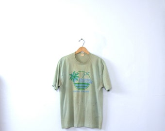 Vintage 70's graphic tee, Florida Tarpon Springs, distressed shirt, distressed tee, size XL / large