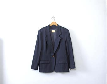 Vintage 90's navy blue blazer, Pendleton wool blazer, wool jacket, size 12 / large
