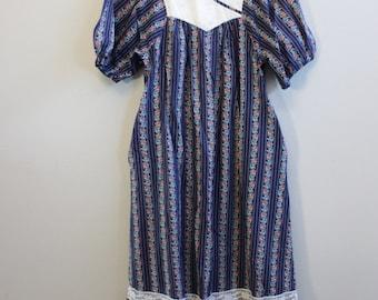 Vintage Muumuu 70s Blue Stripe Floral beach Hawaiian cover-up dress by Nalii