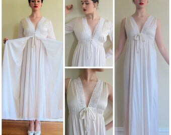 Vintage 1960s Peignoir Set In Ivory  Rayon and White Lace / 60s Nightgown and Robe Ensemble Empire Waist