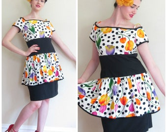 Vintage 1980s Polka Dot Floral Print Party Dress / 80s Peplum Cocktail Dress Short Sleeves / Medium