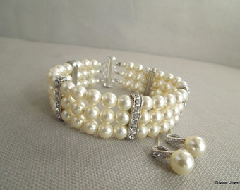 Bridal Pearl Bracelet Earrings Set Ivory Swarovski Pearls Bridal Classic Bracelet Set Bridesmaid Bracelet Wedding Pearl Bracelet Set ALMA