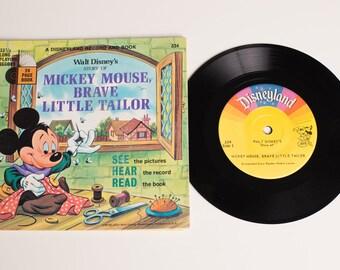 Mickey Mouse Brave Little Tailor Book & Record Set, 334, Walt Disney, Vintage 60s, Disneyland, Cartoon Movie Story, 1968