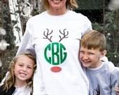 Mommy and Me Christmas Tee - Monogram Christmas Shirt - Monogram Reindeer Christmas Tee - Christmas Tshirt