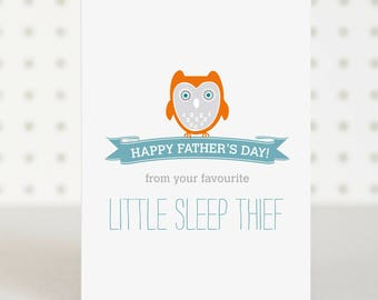 Sleep Thief - Father's Day Card - First Fathers Day - Funny Father's Day Card - New Dad Card