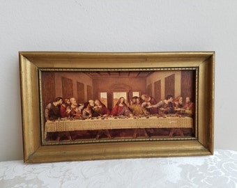 Vintage The Last Supper Religious Art Print by R. Stang in Gold Wood Frame, Jesus Apostles Reofect Painting Reproduction
