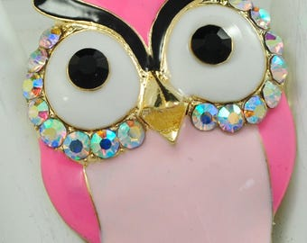 Funky Owl Ring/Pink/Aurora Borealis/Spring/Summer Jewelry/Bird Jewelry/Gift For Her/Statement Ring/Adjustable/Under 20 USD