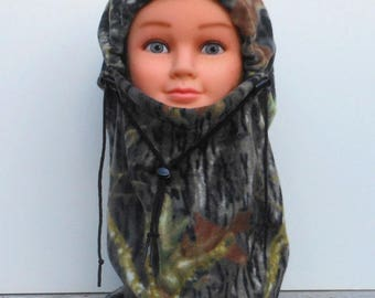 Mossy Oak Camouflage Youth Fleece Balaclava Hat - Ski Mask - Childs Balaclava - Birthday Gift - Winter Hat - For Your Little Hunter