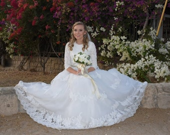 Modest Wedding Dress Ballgown with Sleeves and French Lace Bodice English Net Skirt