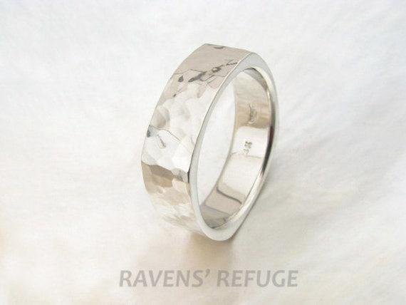 Square Mens Wedding Band 7mm 14k White Gold