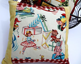 Holiday Hanging Pillow | Christmas Decor | Retro | Vintage| Seasonal Ornament Accent | Doll Cat Train Presents Toys | Gift | Red White Plaid