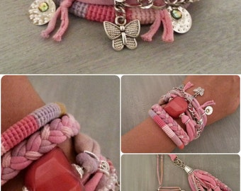 Boho Bracelet Amaranth Red and Pink, Multilayer Bracelet Bohemian Style, Festival Jewelry Gift for Her, Hippie Bracelet Butterfly Charm