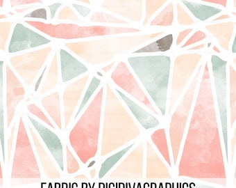 Watercolor Abstract Fabric By The Yard - Geometric Fashion Apparel Watercolor Peach Cream Print in Yard & Fat Quarter