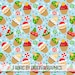 Christmas Cupcake Fabric by the Yard - in Holiday Blue with Santa, Stockings and Christmas Goodies Print in Yard & Fat Quarter