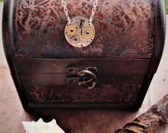 Clock Parts Visible Gears Crystal Statement Industrial Steampunk Fantasy Cosplay Bohemian Necklace