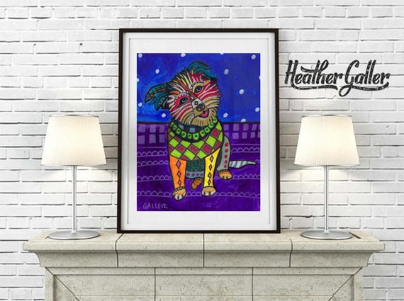 Modern Wall Art - Pumi art dog  Art Print Poster by Heather Galler (HG694)