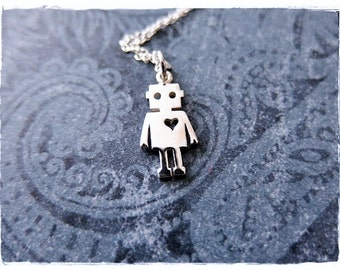 Silver Robot Necklace - Sterling Silver Robot Charm on a Delicate Sterling Silver Cable Chain or Charm Only