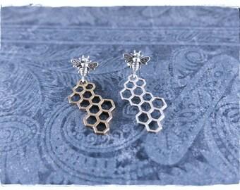 Silver Honeybee and Honeycomb Post Earrings - Sterling Silver Honeybee Posts with Sterling Silver Honeycomb or Bronze Honeycomb Dangles
