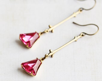 Pink Dangle Earrings, Pink Rhinestone Earrings on Antiqued Brass Hooks, Dark Pink Earrings, Pink Drop Earrings, Rhinestone Jewelry