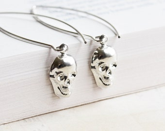 Small Silver Plated Skull Dangle Earrings on Long Marquis Wires, Halloween Jewelry