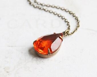 Orange Rhinestone Necklace, Hyacinth Orange Pendant on Antiqued Brass Chain, Teardrop Necklace, Vintage Glass, Autumn Jewelry, Fall Fashion