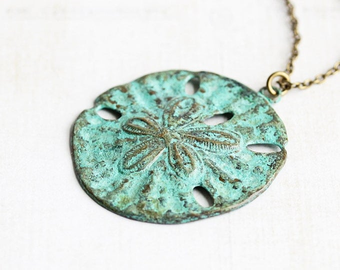 Featured listing image: Large Aqua Blue Patina Sand Dollar Pendant Necklace on Antiqued Brass Chain, Beach Lover Jewelry Gift