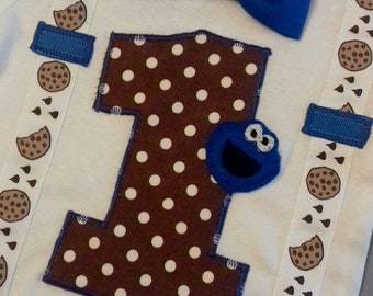 Cookie monster birthday, 1st birthday boy outfit, bow tie and suspenders, first birthday boy onesie, cake smash outfit boy