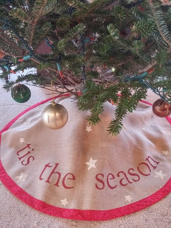 tis the season burlap Christmas  tree skirt
