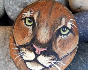 MOUNTAIN LION Hand Painted Stones Cougar Rock Art California Animals Spirit Guides PUMA Artwork Stone Art Big Cat Paintings Cat Lovers Gifts