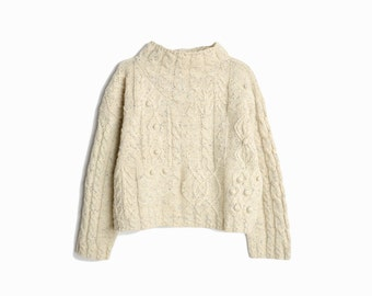Vintage Cropped Cable Knit Wool Sweater in Flecked Oatmeal / Mock Neck Fisherman Sweater - women's medium
