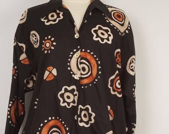 Black Brown and Tan Abstract Print Lightweight Cotton Jacket Blouse Long Button Up Esprit Top Top unstructured Long Sleeve jacket oversize