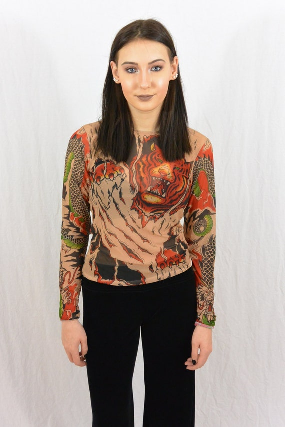 Vintage 90 39 s tattoo shirt see through shirt size for The girl with the dragon tattoo t shirt