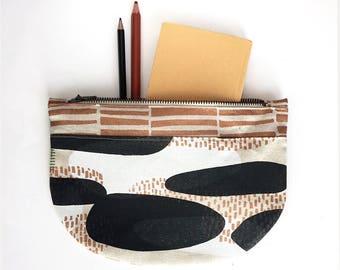 Zipper purse // Organic cotton/hemp pouch // Hand-printed purse // make-up bag