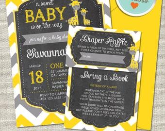Giraffe Baby Shower Invitation, Giraffe Invitation, Giraffe, Yellow, Gray, All Chevron | Printed