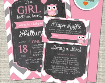 Owl Baby Shower Invitation, Owl Invitation, Owl, Pink, Gray, Chevron, Balloon | Printed