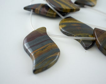 25x48mm Golden Tiger Iron Top-Drilled Leaf Gemstone Beads - 15 inch strand - 10 pieces