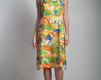 1960s vintage silk flowy sundress bow mod orange floral print MEDIUM M