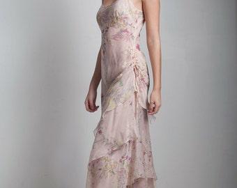 SALE vintage sheer flowy maxi slip tier dress asymmetrical ruffles drawstring SMALL MEDIUM S M