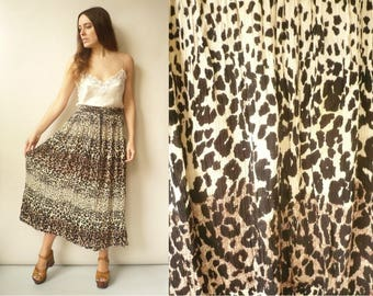 Vintage Animal Print Indian Hippie Rayon Gauze Semi Sheer Gypsy Tie Waist Maxi Skirt
