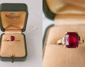antique ring 10k gold ruby solitaire French cut gemstone Art Nouveau crown prong basket setting early 1900s Edwardian size 9.25