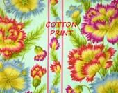1/2 YARD, Blue Yellow Green Pink Floral Print, Quilting Cotton Fabric, Rowan PJ03, Shaggy Poppy, Border Stripes, B11