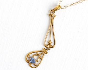 Sale - Antique 10k Yellow Gold Simulated Sapphire Edwardian Necklace - Vintage Lavalier Art Nouveau Fine Pendant 1900s Blue Glass Jewelry