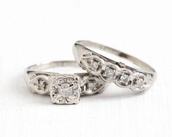 vintage 14k white gold 21 ctw diamond engagement ring wedding band set size - Vintage Wedding Ring Sets