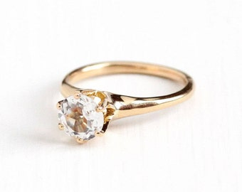 Sale - Antique 10k Rosy Yellow Gold White Topaz Ring - Vintage Size 7 1/4 Raised Prong Solitaire Alternative Engagement Promise Fine Jewelry